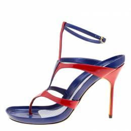 Manolo Blahnik Red/Blue Leather T Strap Thong Sandals Size 40.5 170475