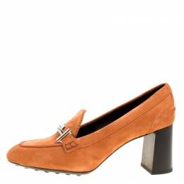 Tod's Orange Suede Gomma Maxi Double T Court Loafer Pumps Size 40 Tod's