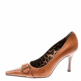 Dolce and Gabbana Brown Leather Buckle Detail Pointed Toe Pumps Size 39.5