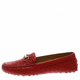 Salvatore Ferragamo	 Red Ostrich Leather Saba Loafers Size 40