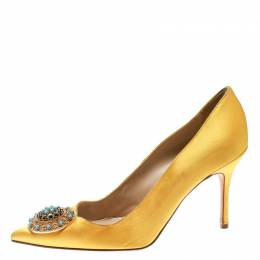 Manolo Blahnik Canary Yellow Satin Giuba Brooch Embellished Pumps Size 36.5 176897
