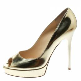 Jimmy Choo Metallic Gold Patent Leather Crown Peep Toe Platform Pumps Size 40