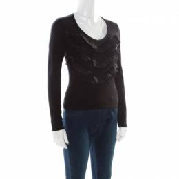 Blumarine Black Wool Ruffle Tiered Front Fitted Top M 177339