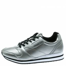 Versace Jeans Silver Faux Leather Lace Up Sneakers Size 40 178745