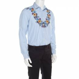 Gucci Blue and White Striped Floral Printed Long Sleeve Skinny Shirt L 180501