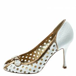 Dolce and Gabbana White/Gold Perforated Leather Bow Detail Peep Toe Pumps Size 36.5