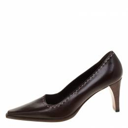 Gucci Brown Leather Pointed Toe Pumps Size 34 181759