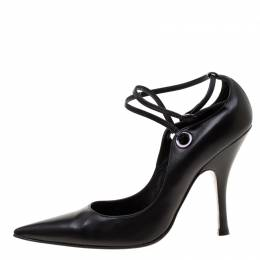 Casadei Black Leather Pointed Toe Ankle Strap Pumps Size 40