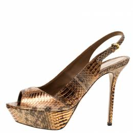 Sergio Rossi Metallic Two Tone Python Leather Slingback Platform Pumps Size 40