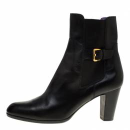 Sergio Rossi Black Leather Ankle Boots Size 40 184204