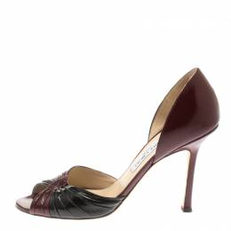 Jimmy Choo Burgundy And Black Patent Leather Ruched D'orsay Peep Toe Pumps Size 39.5