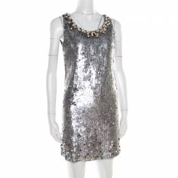 Red Valentino Silver Sequined Pearl Embellished Sleeveless Mini Shift Dress S 186478