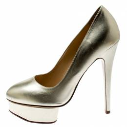 Charlotte Olympia Metallic Gold Leather Dolly Platform Pumps Size 39
