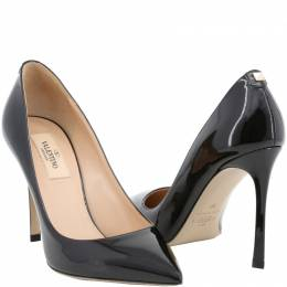 Valentino Black Patent Leather Pointed Toe Pumps Size 40.5