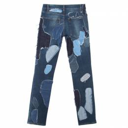 Dolce and Gabbana Indigo Faded Effect Patchwork Detail Distressed Skinny Jeans S 164222