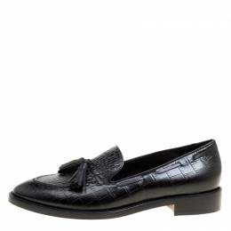 Etro Black Embossed Leather Tassel Loafers Size 39