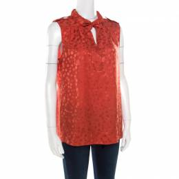 Marc by Marc Jacobs Red Wild Cherry Pattern Silk Jacquard Sleeveless Top M 176105