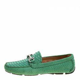 Salvatore Ferragamo	 Women Green Python Leather Mason Gancio Bit Loafers Size 40.5