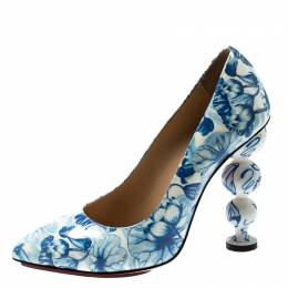 Charlotte Olympia Blue/White Ming Koi Carp Print Patent Leather Pointed Toe Pumps 35.5 197634
