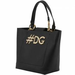 Dolce and Gabbana Black Leather DG Girls Tote 199254