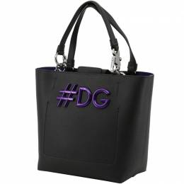 Dolce and Gabbana Black Leather DG Girls Tote 199255