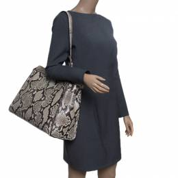 Fendi Beige Python with Suede and Python Lining Large Peekaboo Top Handle Bag 152074