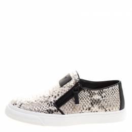 Giuseppe Zanotti Design	 Metallic Grey Python Embossed Leather Eve Slip On Sneakers Size 40 113061