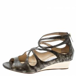 Jimmy Choo Two Tone Lizard Embossed Leather Lava Cut Out Wedge Sandals Size 37.5 193680