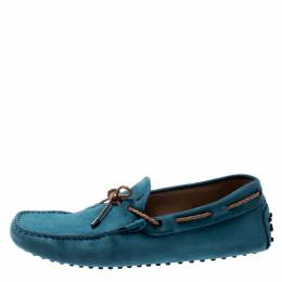 Tod's Blue Suede Braided Bow Loafers Size 41.5 Tod's
