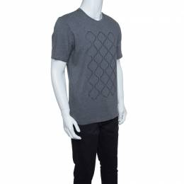 Z Zegna Grey Cotton Geometric Pattern Crew Neck T-Shirt M