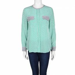 Equipment Green Printed Contrast Trim Detail Long Sleeve Silk Blouse M 101836