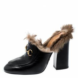 Gucci Black Leather Fur Lined Princetown High Heeled Mules Size 37.5