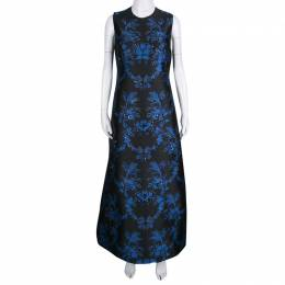 Stella Mccartney Black and Blue Embellished Floral Jacquard Angelica Gown M 138382