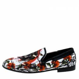 Dolce and Gabbana Multicolor Printed Bull And Majolica Canvas Amalfi Smoking Slippers Size 41