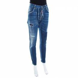 Dsquared2 Indigo Distressed Faded Effect Denim Ruffled Tapered Jeans L 199817