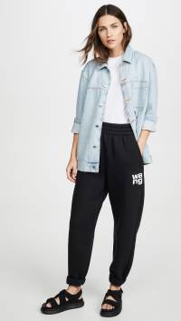 T by Alexander Wang Dense Fleece Pants With Puffpaint Print Detail
