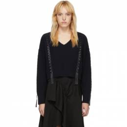 3.1 Phillip Lim Navy Cropped Weave Sweater P191-7244CWR