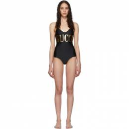 Gucci Black and Gold Logo One-Piece Swimsuit 192451F10300307GB