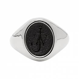 J.W. Anderson Silver and Black Signet Ring 192477M14700201GB