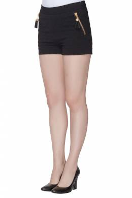 Moschino Couture Black Quilted Tassel Zip Detail Shorts S 201639