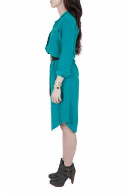 Equipment Femme Everglade Blue Silk Charmeuse Tegan Shirt Dress XS 201671