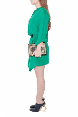 Isabel Marant Etoile Emerald Green Cotton Blend Belted Iban Shirt Dress S 201709