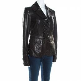 Burberry Black Leather Double Button Panel Peplum Moto Jacket M 200090