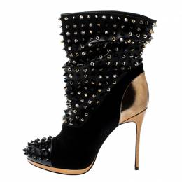 Christian Louboutin Black Patent Leather And Suede Spike Wars Ankle Boots Size 37.5 200118