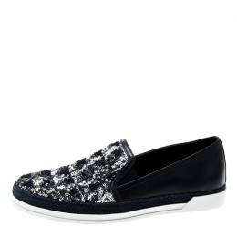 Tod's Blue Leather Sequin Embellished Espadrille Slip On Sneakers Size 37 Tod's 200341