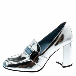 Prada Metallic Silver Leather Block Heel Loafer Pumps Size 37