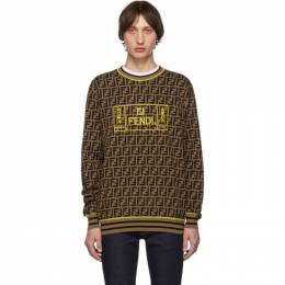 Fendi Brown and Black Forever Fendi All Over Sweater