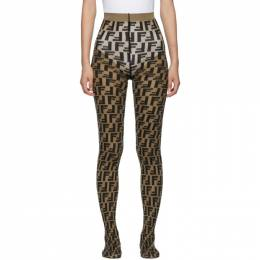 Fendi Brown and Black Forever Fendi Tights