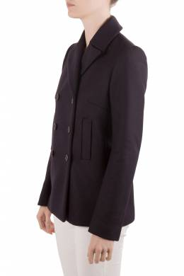 Joseph Navy Blue Felted Wool Double Breasted Yosh Pea Coat M 204518