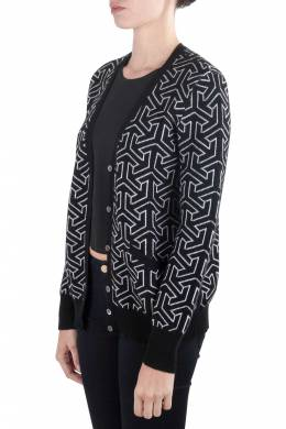 Equipment Femme Black and Ivory Cashmere Wool Jacquard Sullivan Cardigan M 203619